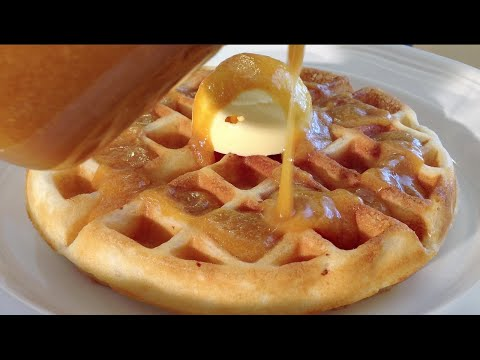 Homemade Waffles-Peach Topping-Breakfast Food Recipes