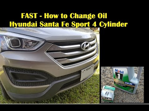 FAST - How to Change the Oil 2015 Hyundai Santa Fe Sport No Ramps or Lift Needed