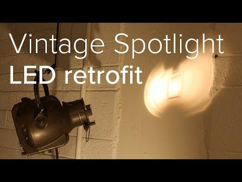 Vintage theatre spotlight - LED retrofit