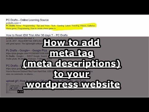 How to add meta tags (meta description) to your WordPress website