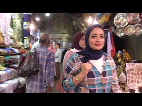 A  walk from Midan Hussein  to the Naquib Mahfouz restaurant at the Khan El Khalili, Cairo