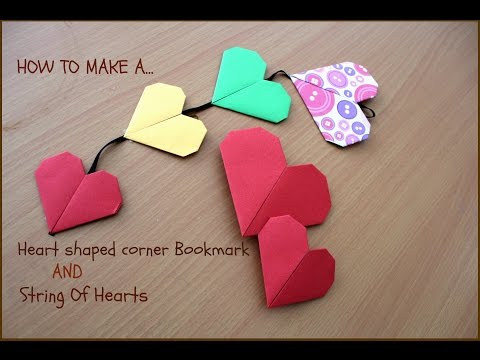 #HowTo# make a(VALENTINES) HEART shaped corner Bookmark & a STRING OF HEARTS