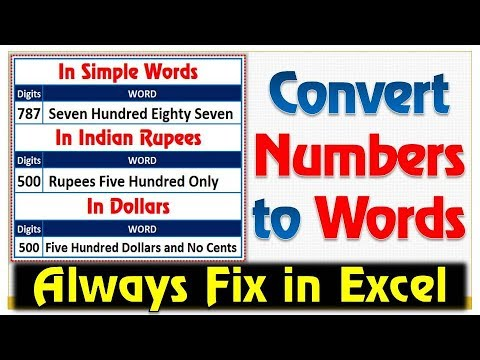 Convert Number to Words in Excel 2010,2013 & 2016 Without using Macro Code | Spell Number in excel ✔