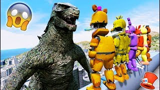 ANIMATRONICS vs GODZILLA! (GTA 5 Mods For Kids FNAF RedHatter)