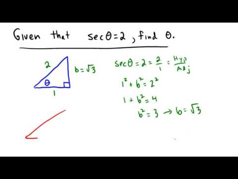 Finding an angle from a secant ratio using special right triangles