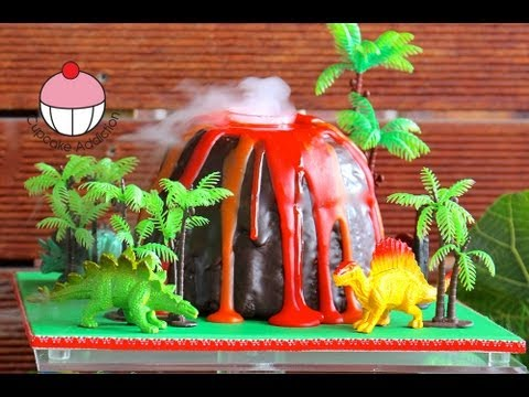 Make a Smoking Volcano Cake - Dinosaur / Hawaiian Party - A Cupcake Addiction How To Tutorial