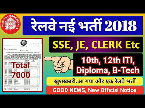 Railway New Recruitment 2018 For SSE, JE, ClERK Etc. Railway Recruitment SSE & Junior Engineer 2018