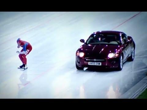 Speed Skater Vs Jaguar XK on Ice! | Top Gear Winter Olympics