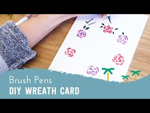 DIY Wreath Card with Brush Pens and Aqua Brush | Stationery Island