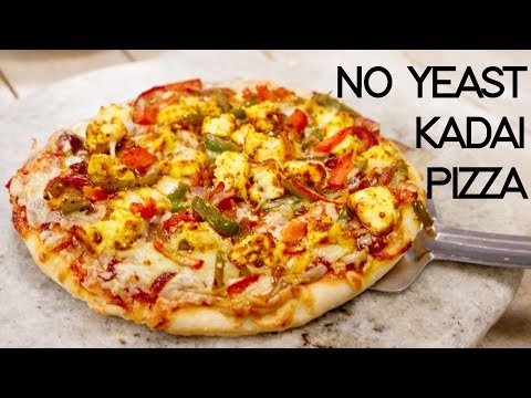 Kadhai Pizza Recipe Without Yeast - Veg Paneer Tikka Pizza in Kadai - CookingShooking