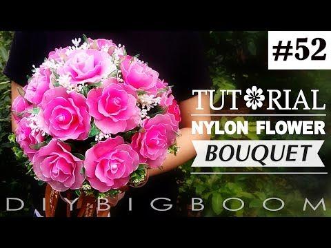 Nylon stocking flowers tutorial #52, How to make nylon stocking flower Bouquet Rose