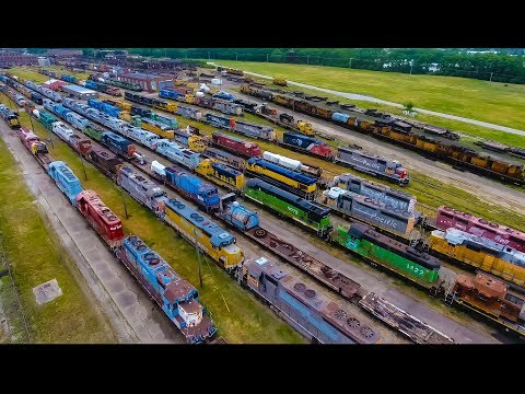 National Railway Equipment Yard 2017 Update in Silvis Illinois by Drone 4K