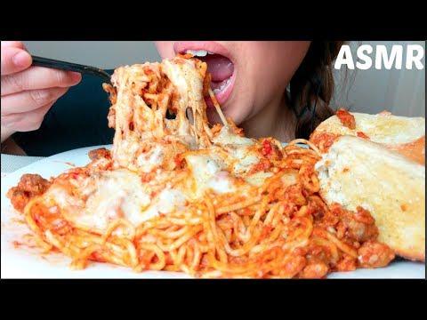 *No Talking* ASMR CHEESY Spaghetti & Meatballs CRUNCHY Garlic Bread 먹방 Eating Sounds