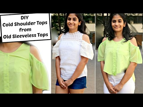 Convert Old Sleeveless Tops into Cold Shoulder Tops | How to Add Cold Shoulder Sleeves