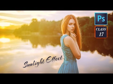 How to Add - Sunlight Effect in Adobe Photoshop CC 2017 - Full Truning Course Class # 17 Urdu/hindi