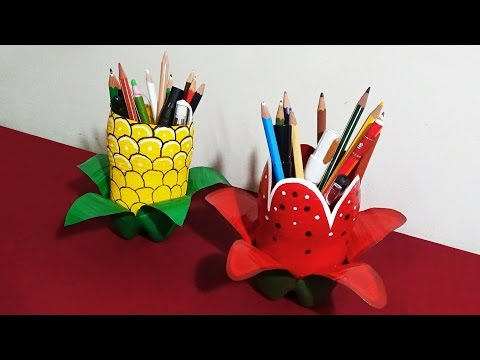 Pen Holder - How To Make Attractive Pen Holders With Plastic Bottles Specially For Kids |