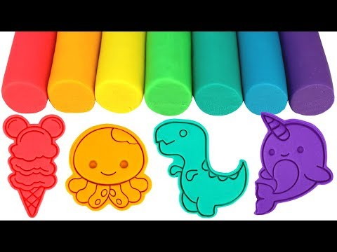 Play Doh Molds Learn Colors with Octopus Kermit Dinosaur Ice Cream Elephant Narwhal Unicorn for Kids
