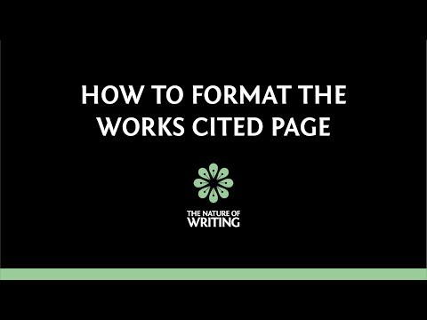 How to Format Your Works Cited Page (MLA 8th ed.)