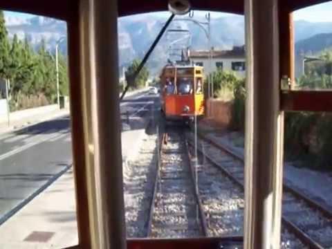 Soller to Port Soller Tram Passing Place Mallorca Majorca Spain
