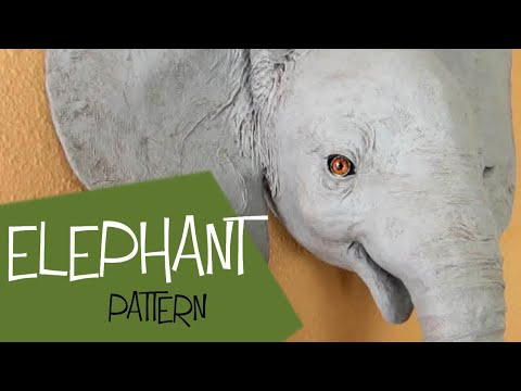 Baby Elephant - Paper Mache Wall Sculpture Pattern