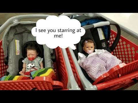 Silicone And Reborn Baby Dolls Go Shopping! Outing With Life Like Silicone Toy Baby Doll