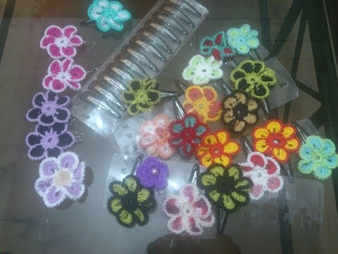 Crochet Flower Hair Clip and Brooch