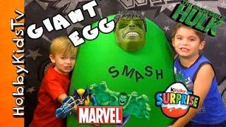 Worlds Biggest HULK Surprise Egg! Marvel Toys Inside + Kinder Egg by HobbyKidsTV