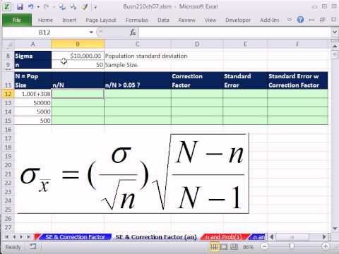 Excel 2010 Statistics 70: Standard Error and Correction Factor For Finite Populations