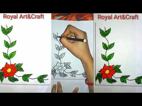 Corner art design for project work   Easy To Make Corner Design   Leaf corner Design For Project Wor