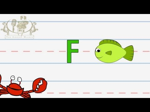 Write the letter F | Alphabet Writing lesson for children | The Singing Walrus
