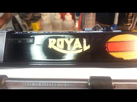Royal 1935 KH Vintage Typewriter, Repaired, cleaned & polish detail Glass Panels Installed