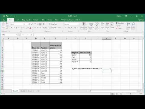 How to Count number of cells in a range of data using COUNTIF function in Excel 2016