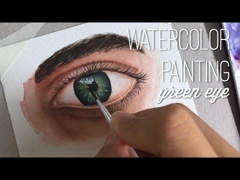 Watercolor Painting - Green Eye