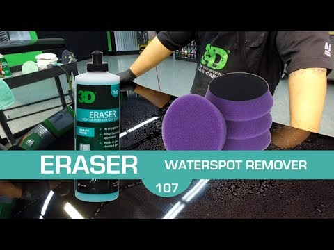 Remove hard water mineral spots cleaning with 3D Eraser Gel for car detailing and paint correction