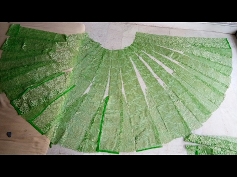 DIY/..How to cut Anarkali lehenga from net saree