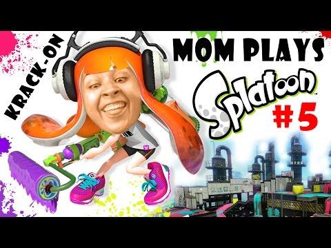 Lets Play SPLATOON Part 5: Mom & the Krak-On Roller! Turf War in Saltspray Rig! (FGTEEV FUN!)