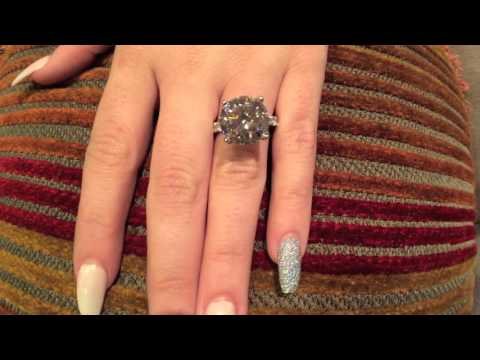 Blac Chyna's Ring with High Quality Cubic Zirconia 7 carat Round Stone in Solid 14K White Gold