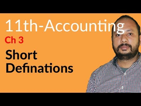 I.Com Part 1 Accounting,ch 3,lec 1,Short Definition Chapter no 3-Inter Part 1 Chapter 3