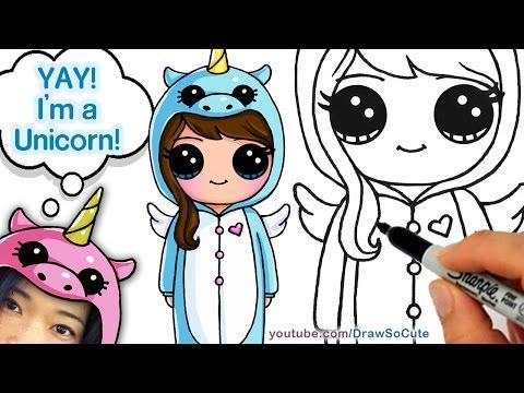 How to Draw Cute Girl in Unicorn Onesie Easy