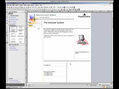 Using MS Publisher to create a website.