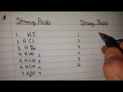 Easy way to memorize the 7 strong acids and 6 strong bases