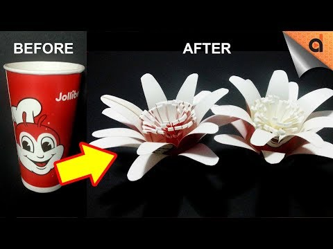 How to Make DIY Flower from Disposable Paper Cups