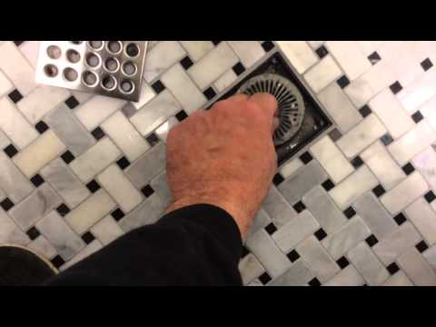 Hair-trap drain in tile shower!