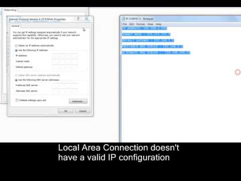 Local Area Connection doesn't have a valid IP config