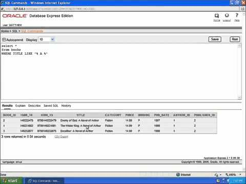 17 SQL with Oracle 10g XE   Using LIKE for Wildcards with SELECT