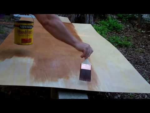 Staining Sheets of Luan Plywood