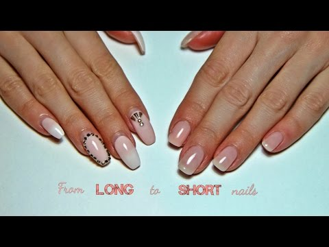 From Long to Short Gel Nails! Old design removal, drill and hand filing, prep and refill