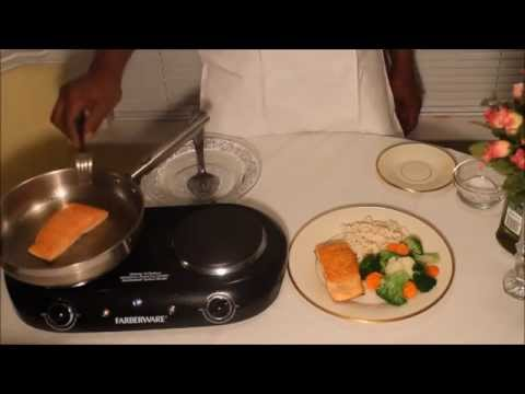 Fried Salmon and Steamed Vegetables