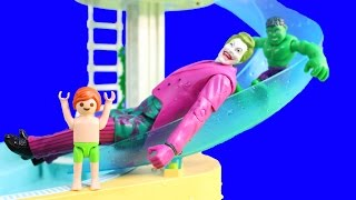 Playmobil Joey Swims At Water Park Pool With Baby Hulks And Joker Goes Down Waterslide Episode 3