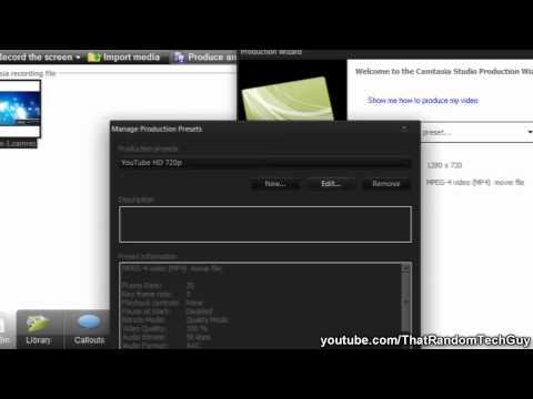 Camtasia Studio 7 - HD 720p Render Settings